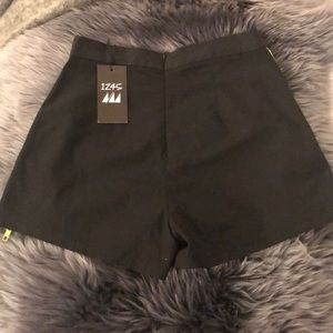 LF Shorts - Black High Waisted Shorts with Green Trim ☘️